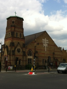 Like a lot of East End churches, St. Barnabas was bombed in the second World War. Hence the truncated steeple.